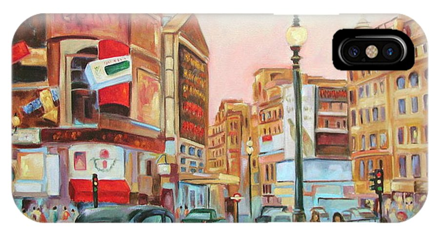 Cityscape IPhone X Case featuring the painting Picadilly by Ginger Concepcion