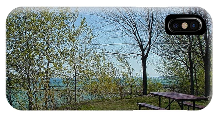 Lake View IPhone X Case featuring the photograph Picnic Table By The Lake Photo by Anita Burgermeister