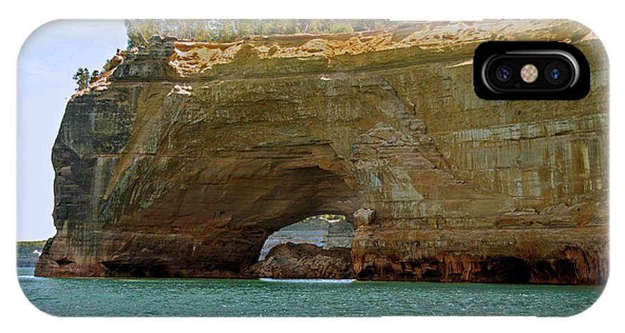 Landscape IPhone X Case featuring the photograph Pictured Rocks Arch by Michael Peychich