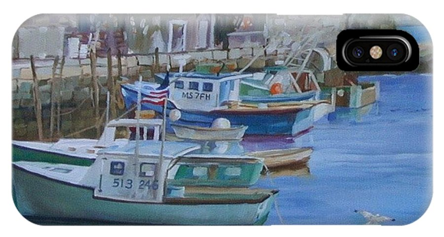 Lobster Boats IPhone X Case featuring the painting Pidgeon Cove by Michael McDougall