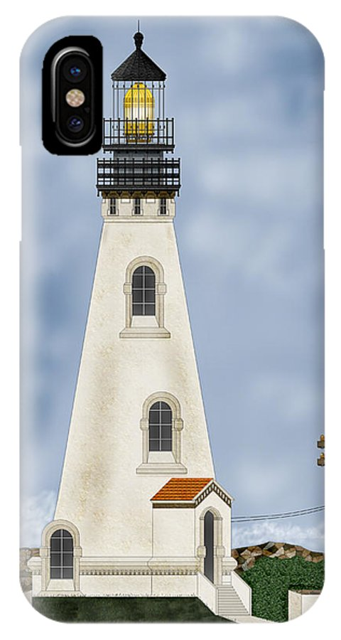 Lighthouse IPhone X Case featuring the painting Piedras Blancas Lighthouse in California by Anne Norskog