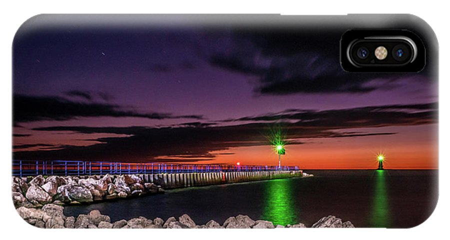 Lake Michigan IPhone X Case featuring the photograph Pier And Lighthouse by Lester Plank