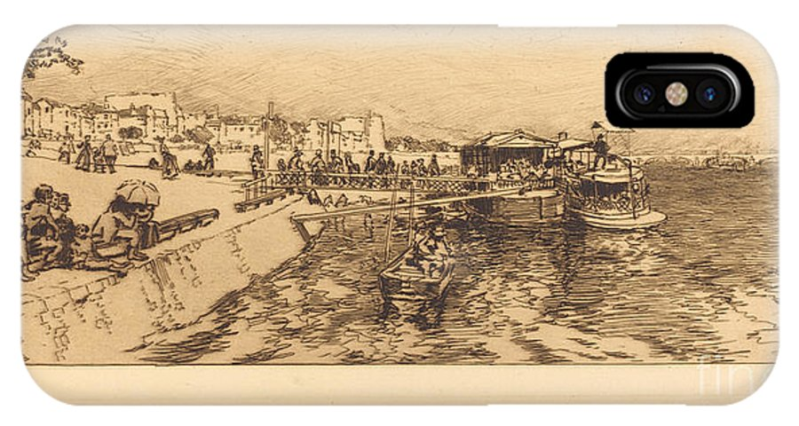IPhone X Case featuring the drawing Pier Of Bercy (embarcadere, Quai De Bercy) by Auguste Lep?re