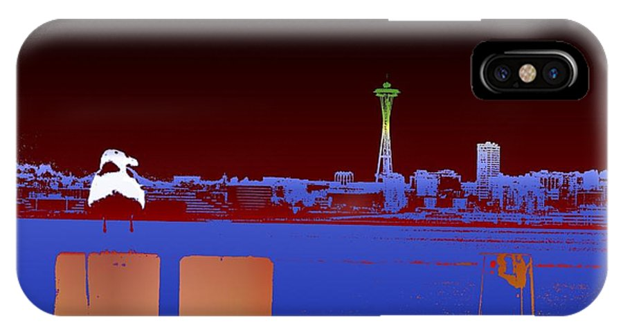 Seattle IPhone X Case featuring the digital art Pier With A View by Tim Allen