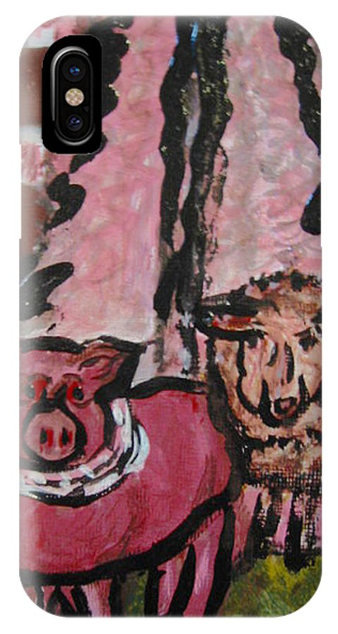 Pig IPhone X Case featuring the painting Pig And Sheep by Dawn Richerson