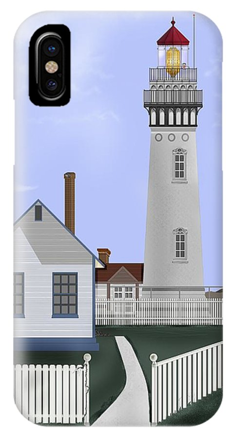 Lighthouse IPhone X Case featuring the painting Pigeon Point Lighthouse California by Anne Norskog