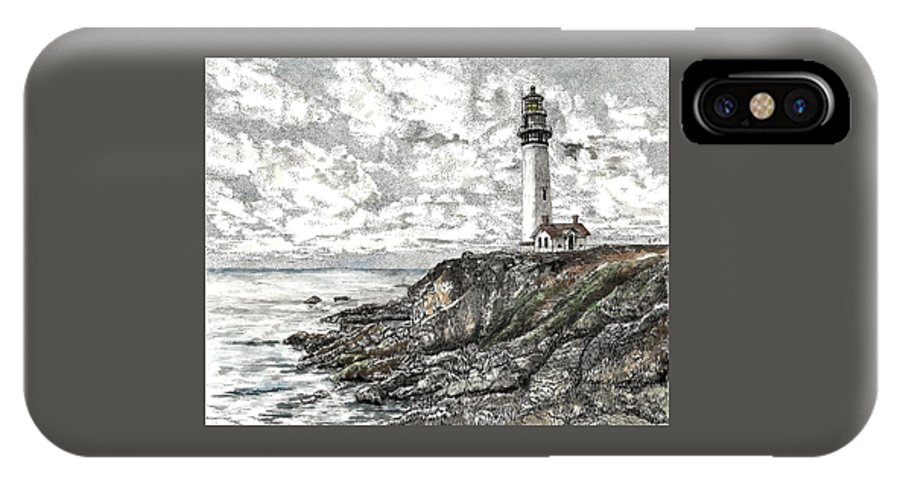 Pigeon Point IPhone X Case featuring the drawing Pigeon Point Lighthouse by Stephany Elsworth