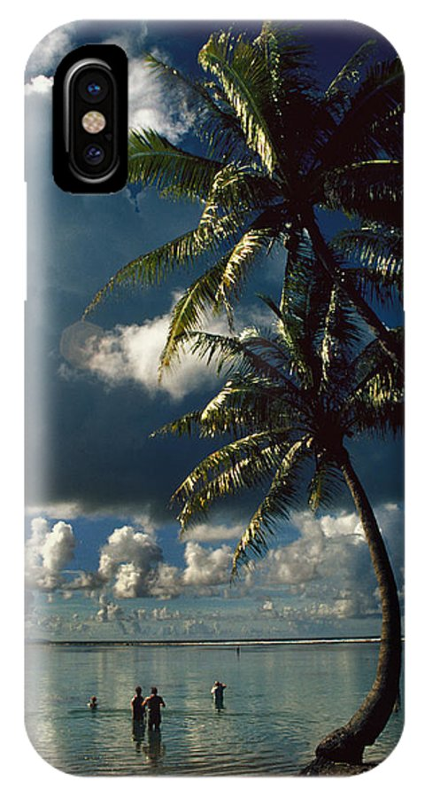 Island; Paradise; Beach; Palms; Palm; Palm Trees; Calm Water; Tropical; Swimmers; Vacation; Ideal; T IPhone X Case featuring the photograph Pigeon Point on Tobago by Carl Purcell