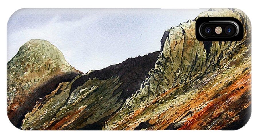 Mountain IPhone X Case featuring the painting Pike O' Stickle And Loft Crag by Paul Dene Marlor