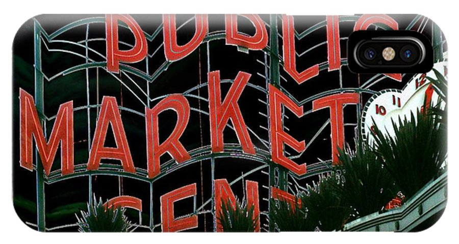 Seattle IPhone X Case featuring the digital art Pike Place Market Entrance 5 by Tim Allen