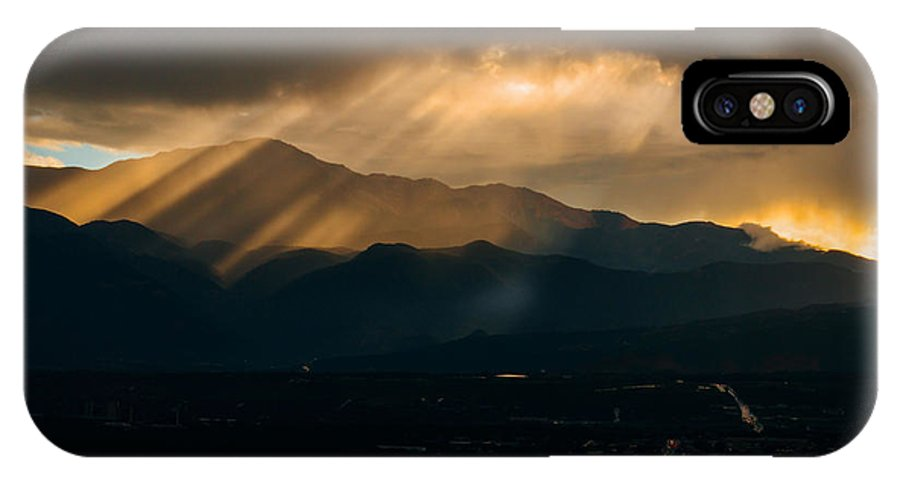 Colorado IPhone X / XS Case featuring the photograph Pikes Peak Sunset by Alex Browne
