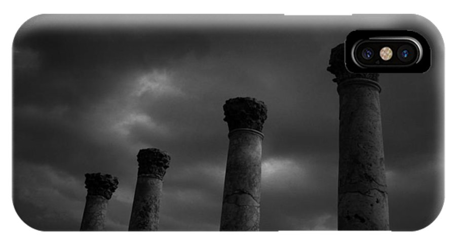 Abstract IPhone X Case featuring the photograph Pillars Of Black And White by Gary Henderson