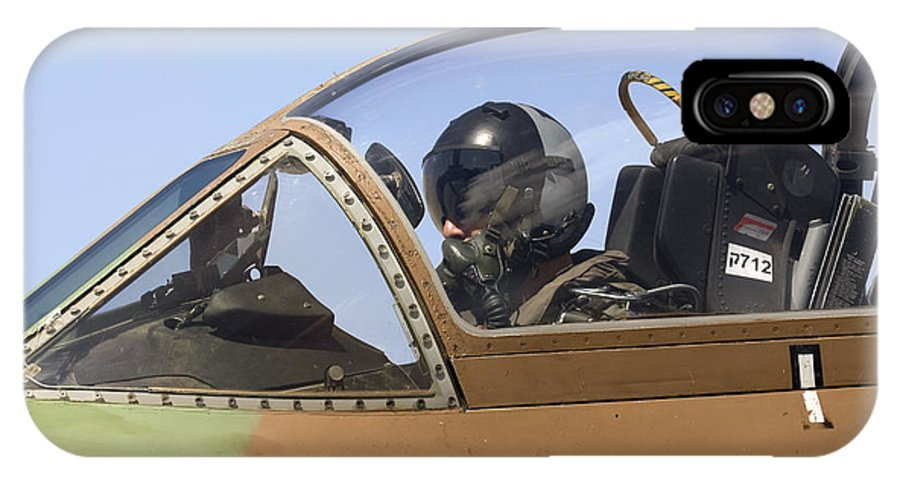 Aircraft IPhone X Case featuring the photograph Pilot In The Cockpit Of A Skyhawk Fighter Jet by Nir Ben-Yosef