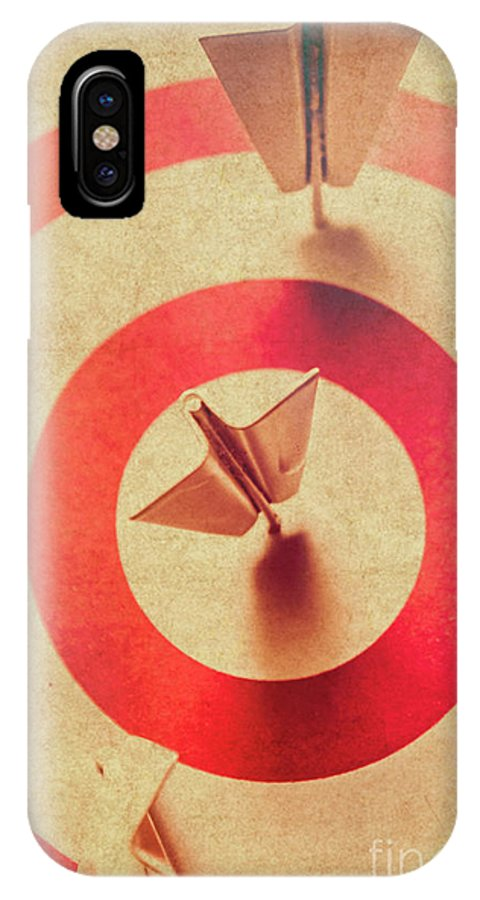 Competition IPhone X Case featuring the photograph Pin Plane Darts Hitting Goals by Jorgo Photography - Wall Art Gallery