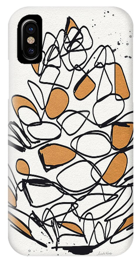 Pinecone IPhone X Case featuring the mixed media Pine Cone- Art By Linda Woods by Linda Woods