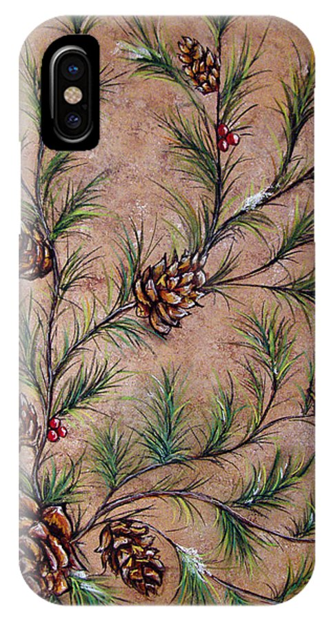 Acrylic IPhone X Case featuring the painting Pine Cones And Spruce Branches by Nancy Mueller