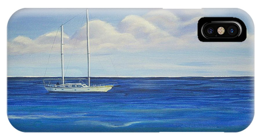 Sailboat IPhone X Case featuring the painting Pine Island Sailboat by Nancy Nuce