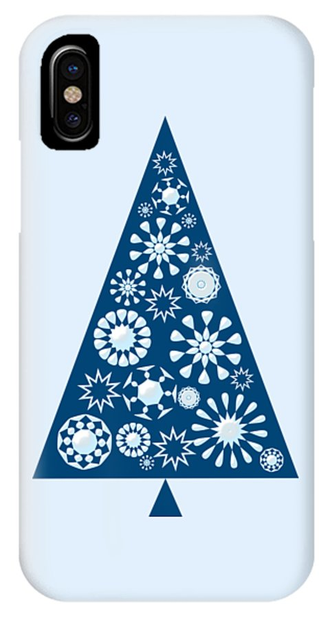 Interior IPhone X Case featuring the digital art Pine Tree Snowflakes - Blue by Anastasiya Malakhova