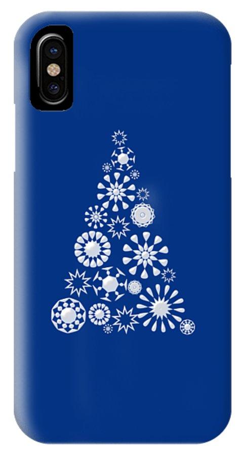 Interior IPhone X Case featuring the digital art Pine Tree Snowflakes - Dark Blue by Anastasiya Malakhova