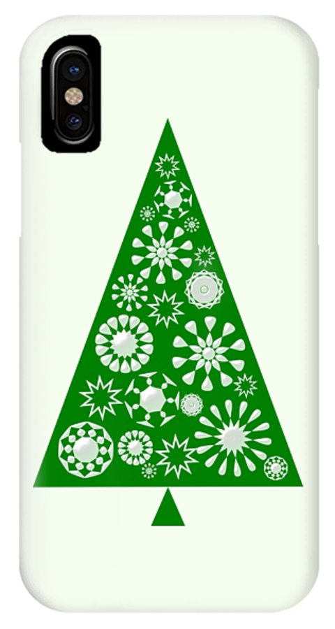 Interior IPhone X Case featuring the digital art Pine Tree Snowflakes - Green by Anastasiya Malakhova