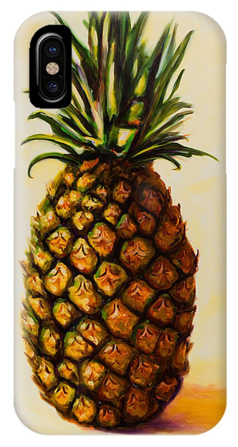 Pineapple IPhone X Case featuring the painting Pineapple Angel by Shannon Grissom