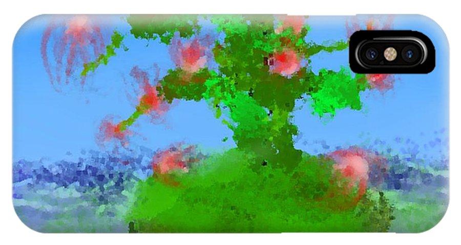 Landscape.sea.birds.island.sky.tree .rest Stop.wave.wind. IPhone X Case featuring the digital art Pink Birds Ongreen Island by Dr Loifer Vladimir