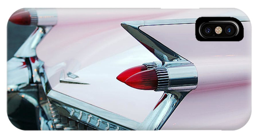 Car IPhone X Case featuring the photograph Pink Cadillac Eldorado Tail Fin by Jill Reger