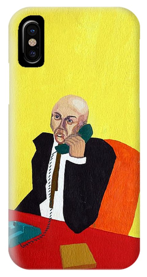Office IPhone X Case featuring the painting Pink Collar Man by Sheri Buchheit