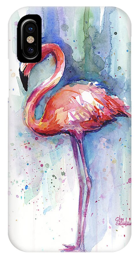 Watercolor IPhone X Case featuring the painting Pink Flamingo Watercolor by Olga Shvartsur