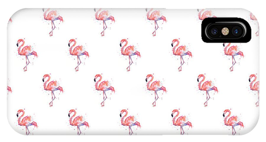 Pink IPhone X Case featuring the painting Pink Flamingo Watercolor Pattern by Olga Shvartsur