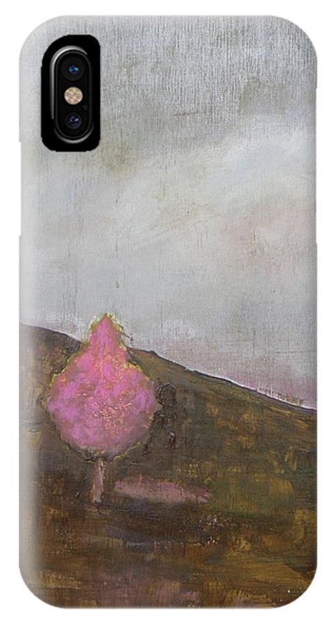 Landscape IPhone X Case featuring the painting Pink Flowering Tree by Vesna Antic