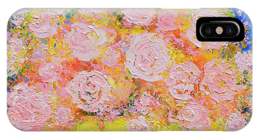 Roses Painting IPhone X Case featuring the painting Pink Flowers by Jan Matson