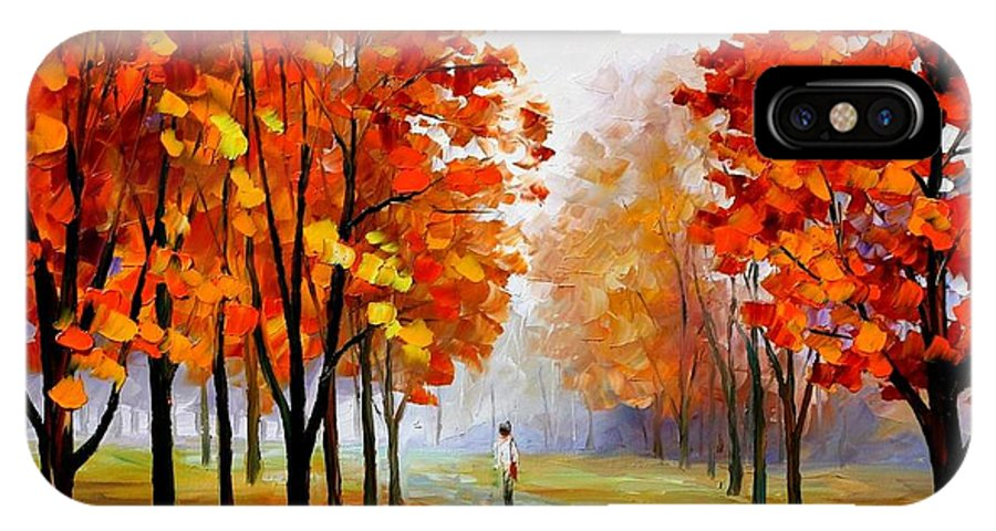 Afremov IPhone X Case featuring the painting Pink Fog by Leonid Afremov
