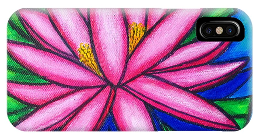 Water Lilies IPhone X Case featuring the painting Pink Gem 2 by Lisa Lorenz