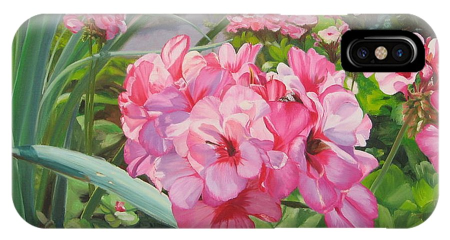 Pink Geraniums IPhone X Case featuring the painting Pink Geraniums by Lea Novak