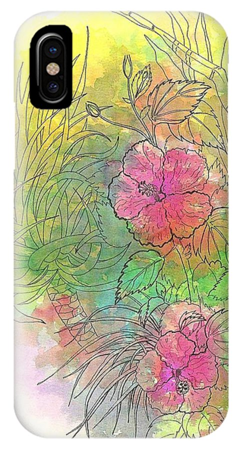 Flowers IPhone Case featuring the drawing Pink Hibiscus by George I Perez