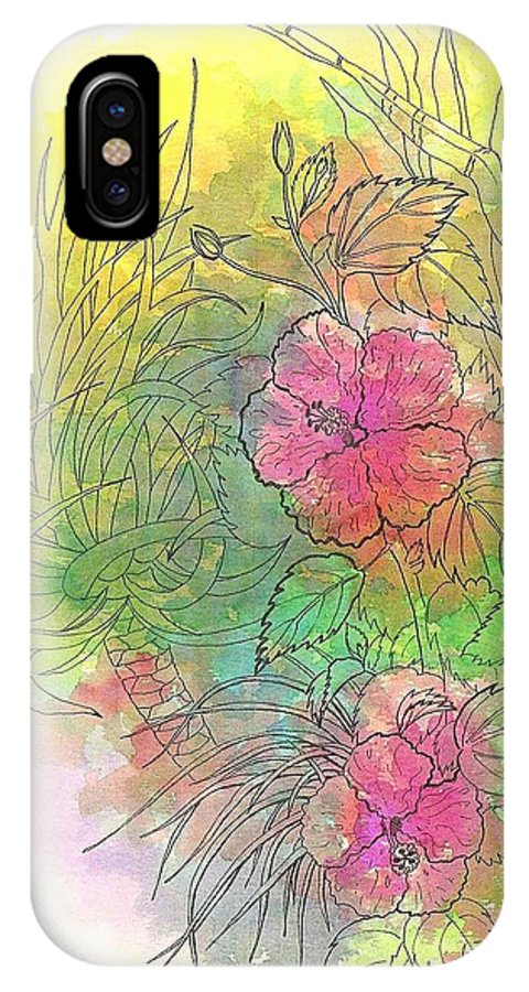 Flowers IPhone X Case featuring the drawing Pink Hibiscus by George I Perez