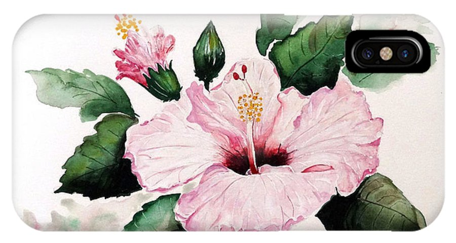 Hibiscus Painting  Floral Painting Flower Pink Hibiscus Tropical Bloom Caribbean Painting IPhone X Case featuring the painting Pink Hibiscus by Karin Dawn Kelshall- Best