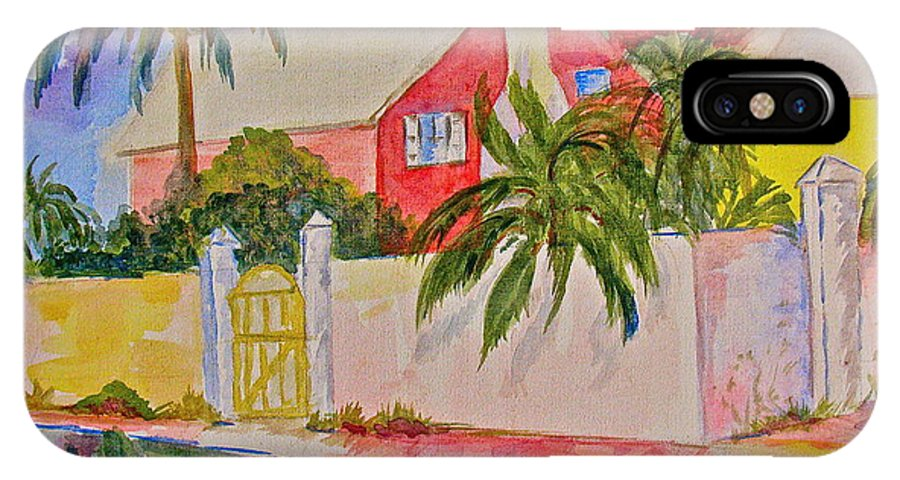 Island House IPhone X Case featuring the painting Pink House by Donna Steward