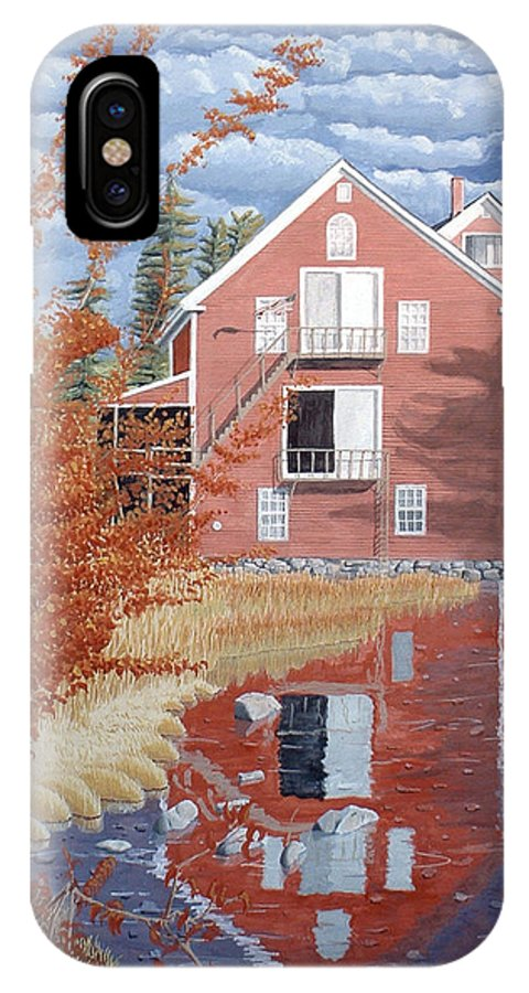 Autumn IPhone X Case featuring the painting Pink House In Autumn by Dominic White