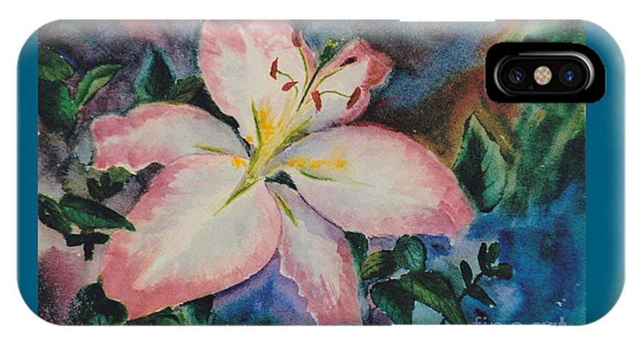 Lily IPhone X Case featuring the painting Pink Lily by Brenda Thour
