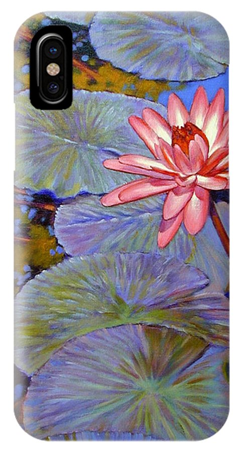 Pink Water Lily IPhone X / XS Case featuring the painting Pink Lily With Silver Pads by John Lautermilch