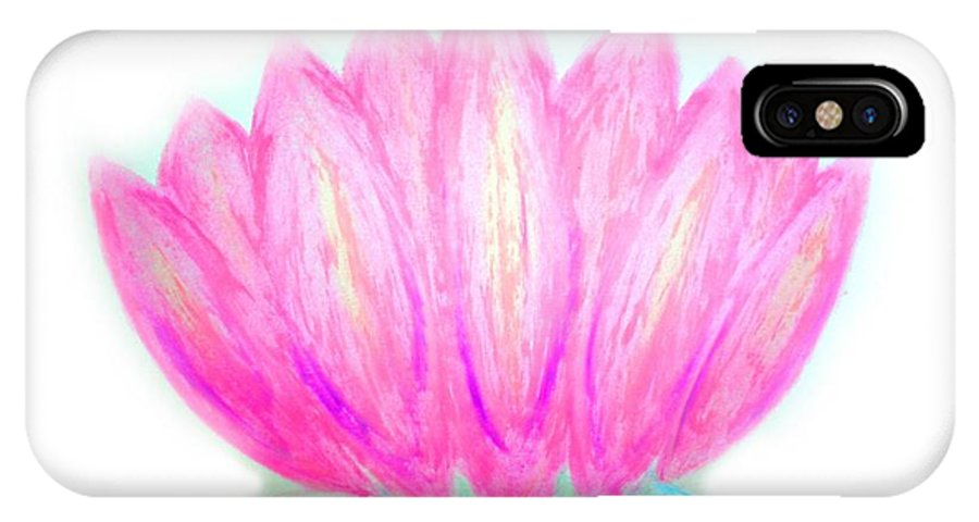 Lotus IPhone X Case featuring the pastel Pink Lotus by Chandelle Hazen