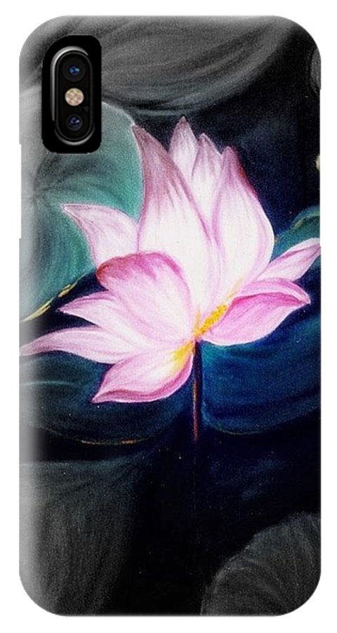 Lotus IPhone X Case featuring the painting Pink Lotus by Dina Holland