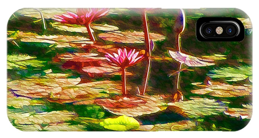 White Lotus Flower IPhone X Case featuring the painting Pink Lotus Flower 2 by Jeelan Clark