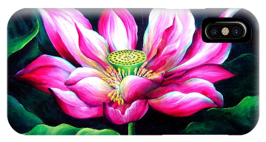 Pink IPhone X Case featuring the painting Pink Lotus From L.a. City Park by Sofia Metal Queen