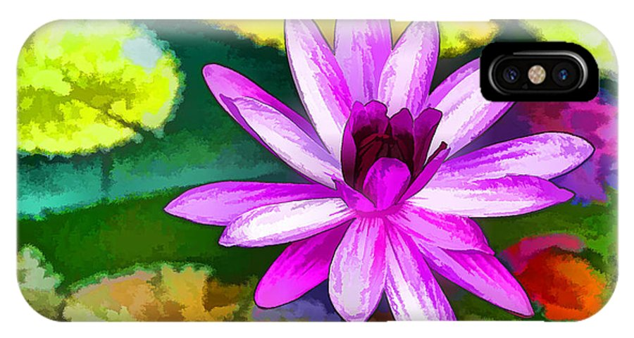 Pink Lotus Gallery IPhone X Case featuring the painting Pink Lotus Gallery by Jeelan Clark