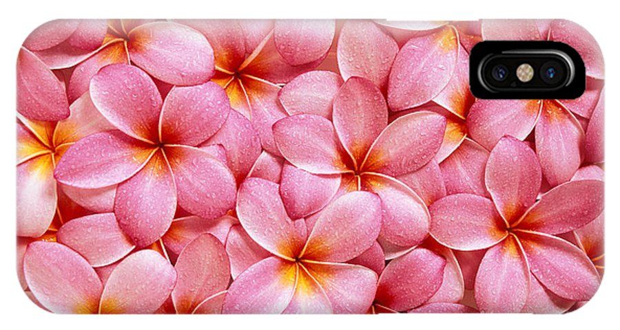 Aloha IPhone X Case featuring the photograph Pink Plumeria by Kyle Rothenborg - Printscapes