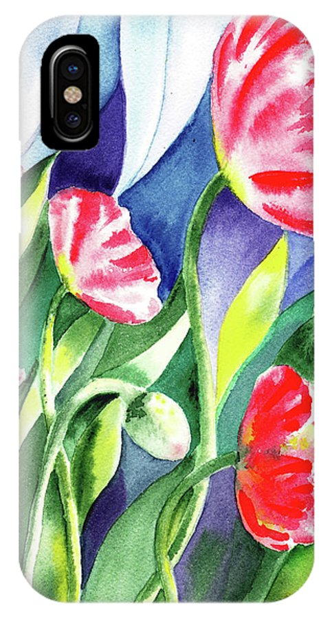 Poppy IPhone X Case featuring the painting Pink Poppies Batik Style by Irina Sztukowski