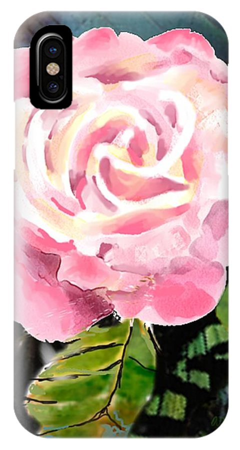 Rose IPhone Case featuring the digital art Pink Rose by Arline Wagner